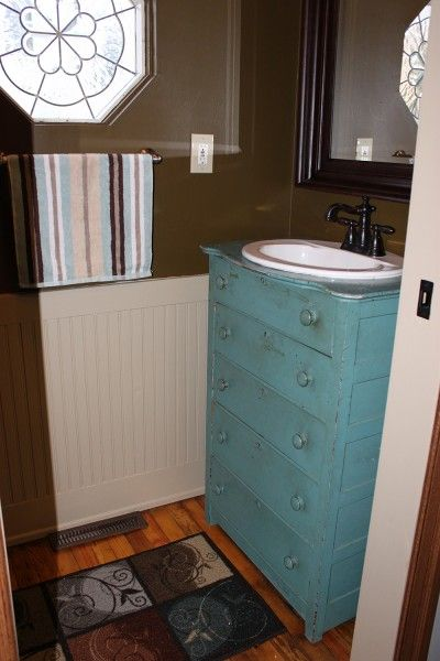 Furniture reincarnation how to turn your old dresser for Turning a dresser into a bathroom vanity